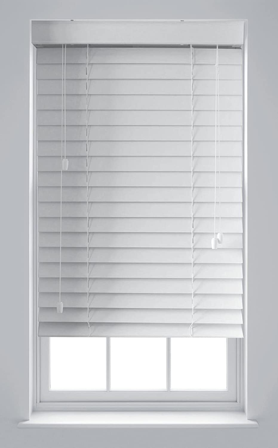 Furnished Luxury White Wood Effect Venetian Blinds Made to Measure Up To 45cm x 150cm
