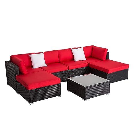 Amazon.com: Worldrich Juego de 7 piezas de muebles de patio ...