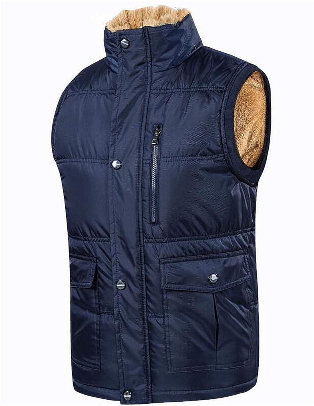 BU2H Men Sleeveless Vest Fleece Lined Down Puffer Jacket Coat