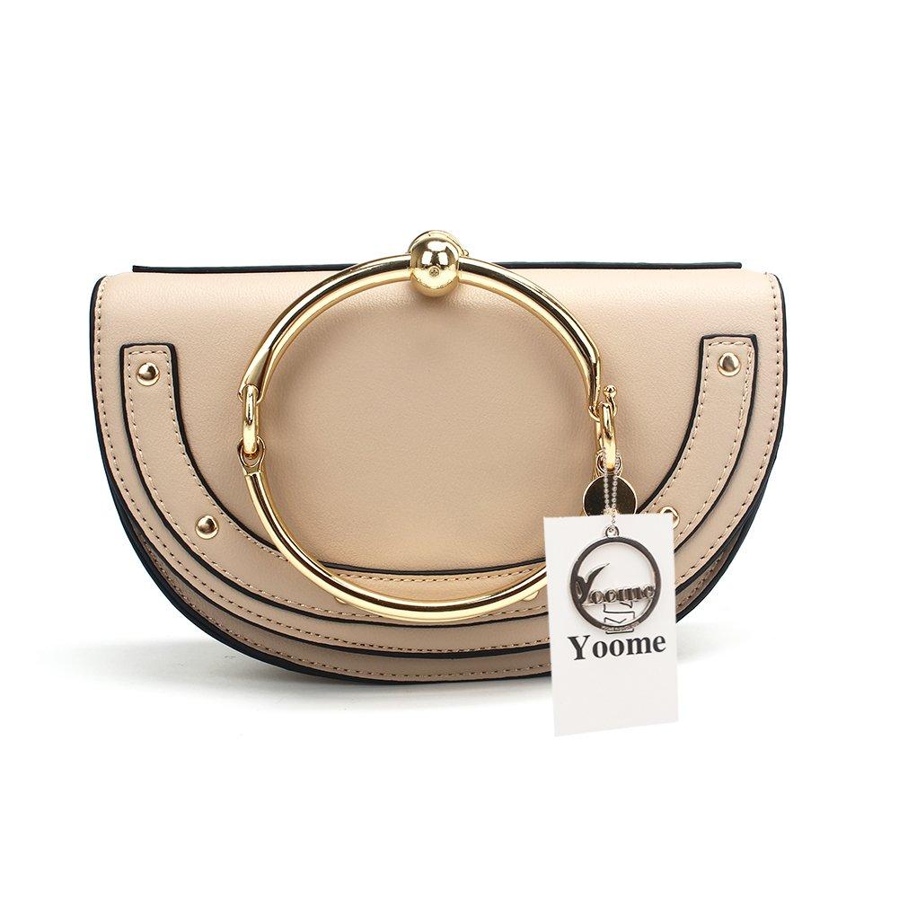 Yoome Elegant Rivets Punk Style Circular Ring Handle Handbags Cute Lune Satchel Round Bracelet Wristlet Crossbody Bags For Girls - Beige.lune - Upgraded Version