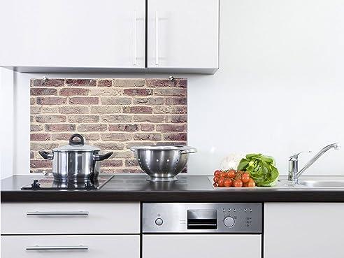 Küchenrückwand Spritzschutz aus Glas rötliche Steinwand Steinmauer ...
