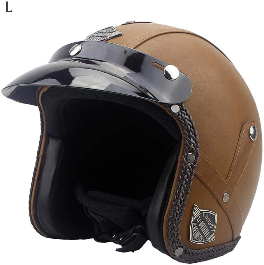 gaeruite Cuero de la PU del Casco de la Motocicleta de la Vendimia, Cascos de Harley, Casco Unisex de la Bici del Interruptor de la Motocicleta de 3/4