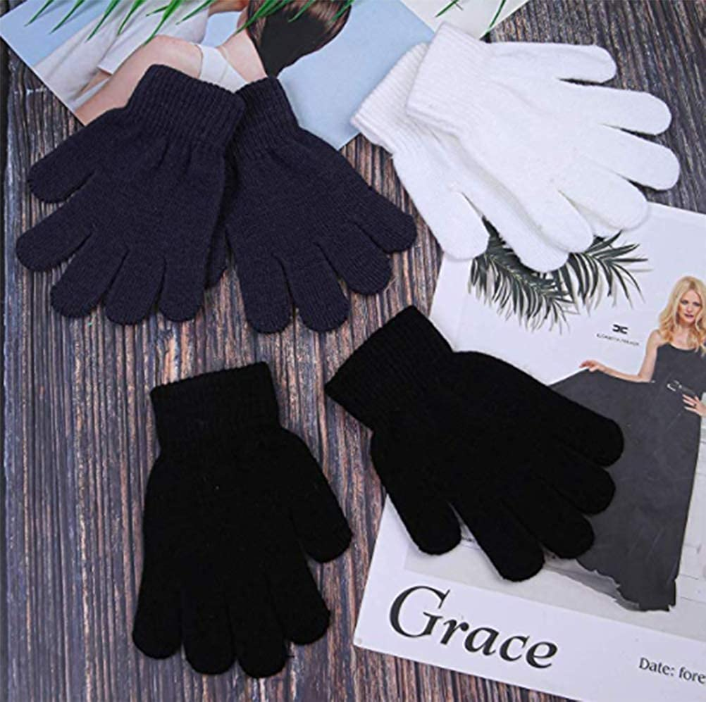 Kids Warm Magic Gloves,14 Pairs Boys Girls Winter Stretchy Knit Gloves