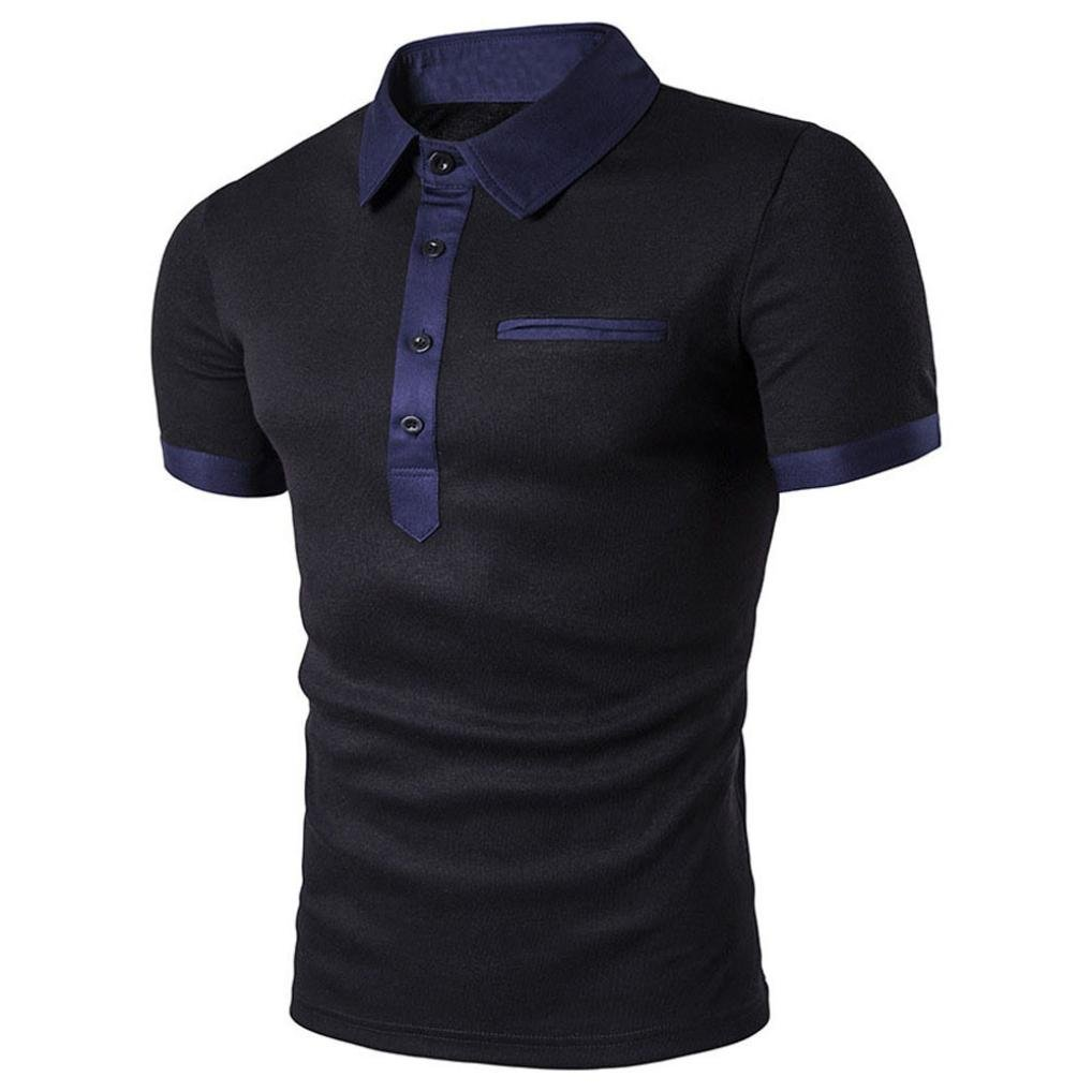 FUNIC Men's T-Shirt, Men Slim Short Sleeve Casual Polo Shirt T-shirts Tee Tops (Medium, Black) by FUNIC