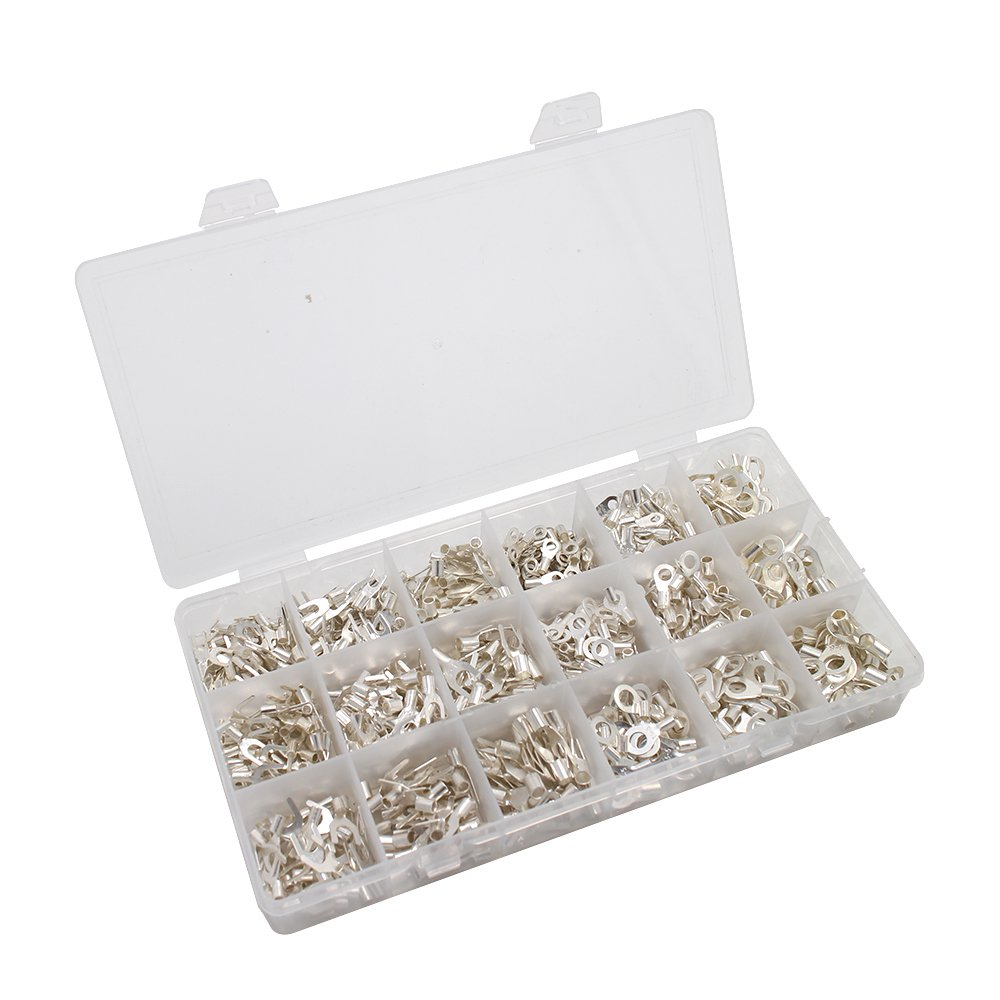 CREATORELE 840Pcs/Box 18 type Cold naked terminal Non-Insulated Ring Fork U-type Terminals Assortment Kit Cable Crimp Spade Connector