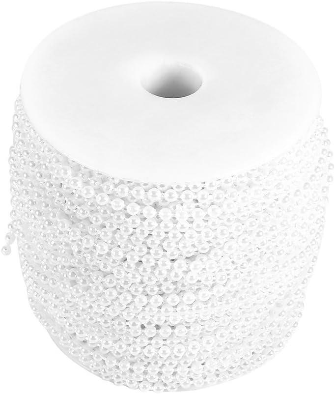 50M Roll 3mm Línea de pesca perlas cadena de cuentas de la cadena de guirnalda decoración de la boda Centerpieces ( Color : Blanco )