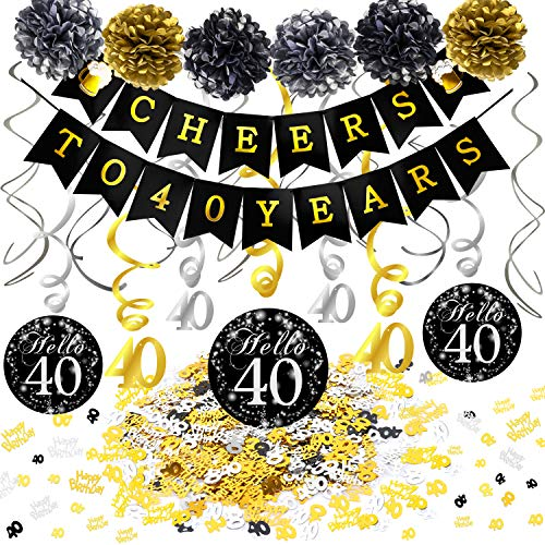 Konsait 40th Birthday Decoration Kit, Cheers to 40 Birthday Banner Swallowtail Bunting Garland Sparkling 40 Hanging Swirls, Tissue Paper Pom Poms, Table Confetti (1.05oz) for Party Favors Supplies