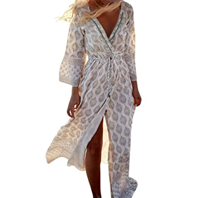 Daxin Womens Chiffon Open Kimono Cardigan With Belt Long Sleeve Maxi Beach Long Dress