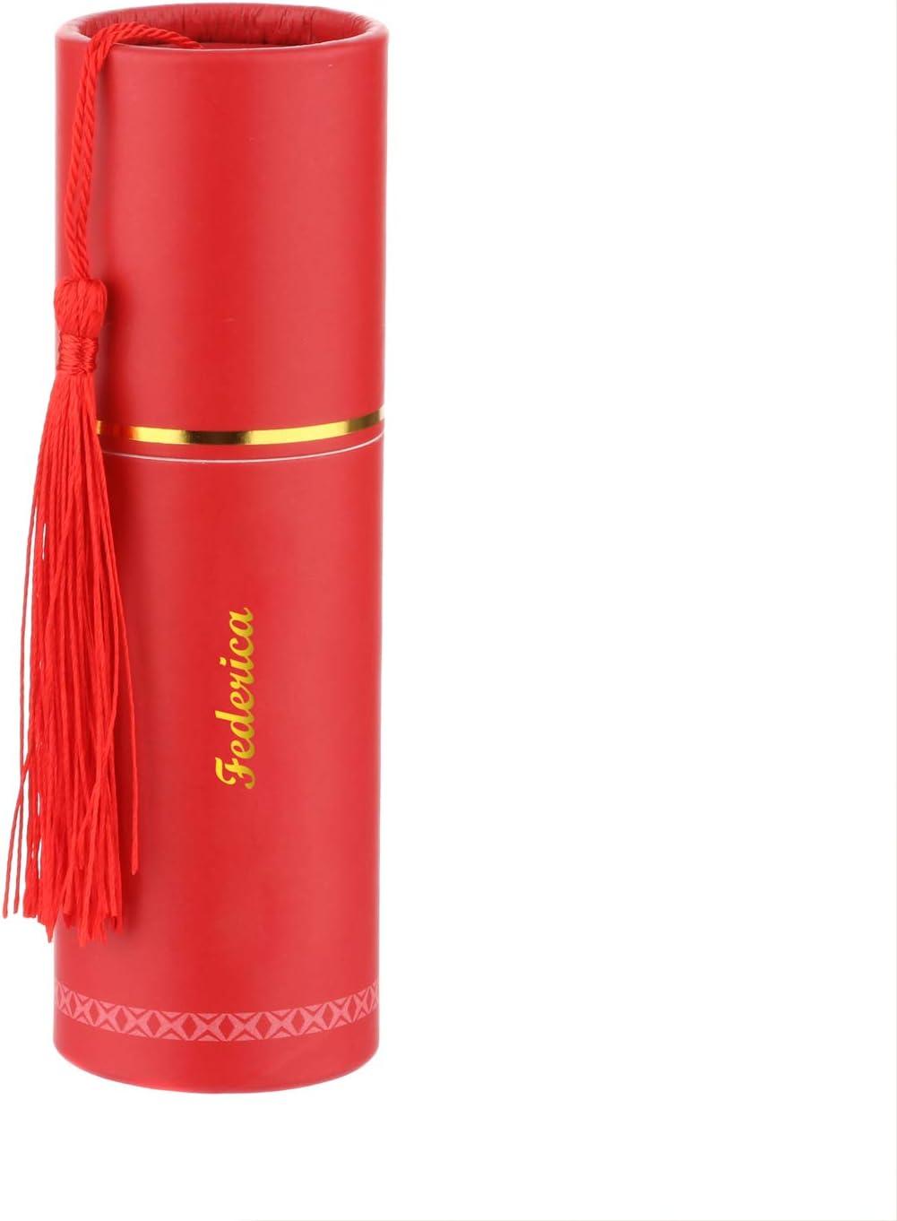 2,6x10 cm Rosso Cornetto portafortuna con nome Federica in ceramica