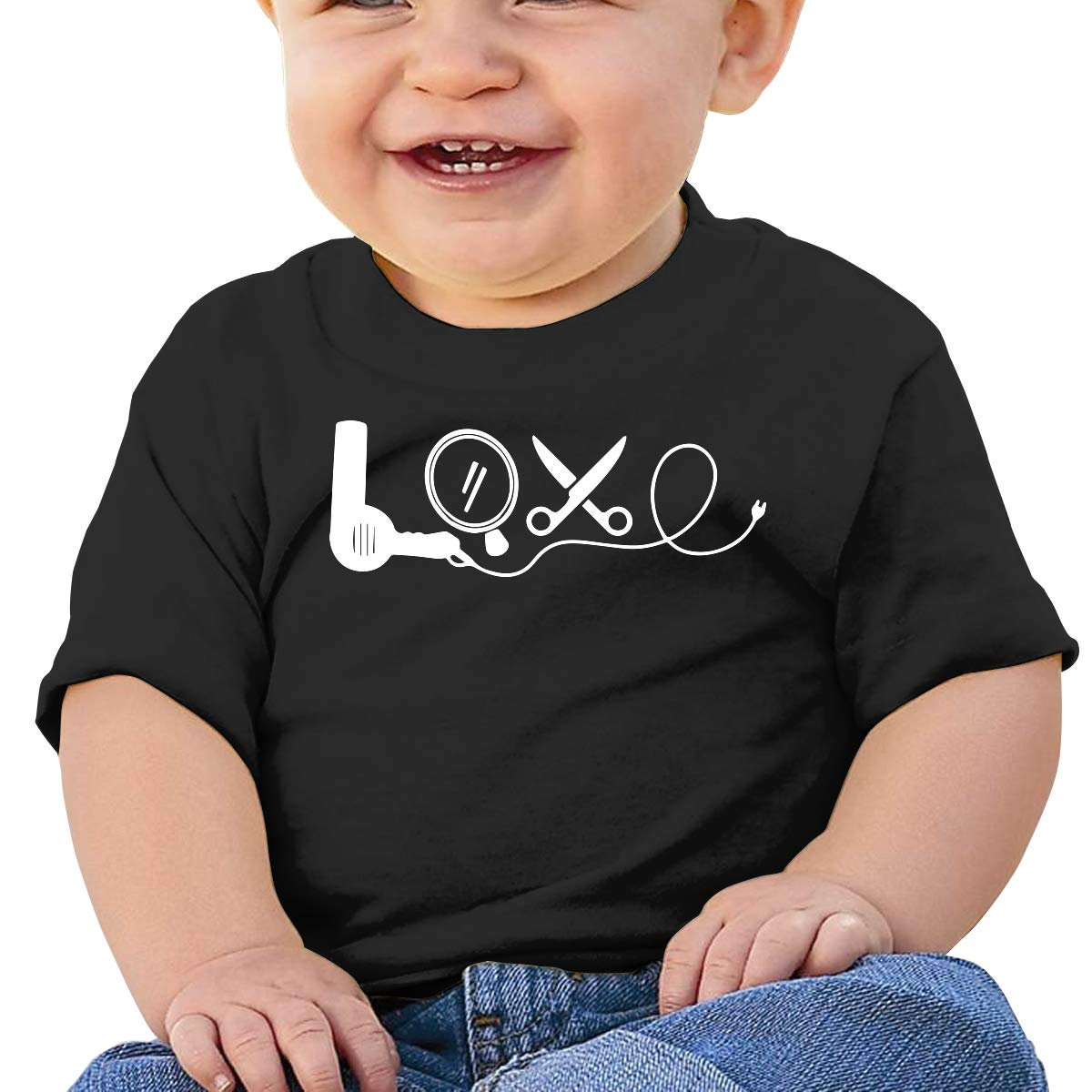 Hair Stylist Love-1 Baby Boys Girls Short Sleeve Crewneck T-Shirt 6-18 Month Tops