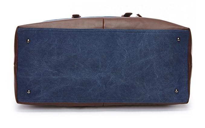 WOMJIA PU Vintage Voyage sac de sport weekender bagage à main de sac de Sac en bandoulière 35L Bleu SIDnZ6lJ