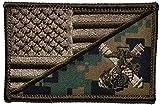 USMC Artillery USA Flag 2.25 x 3.5 inch Morale Patch (Woodland Digital Marpat)