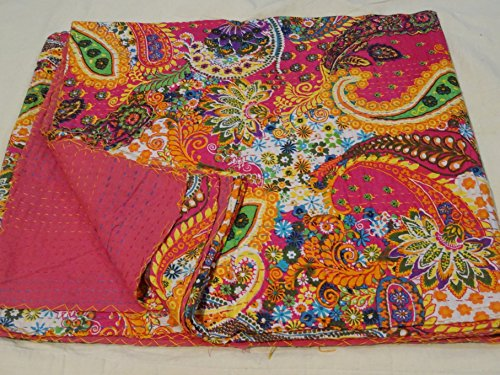 (Tribal Asian Textiles Queen Indian Handmade Queen Size Ikat Kantha Quilt, Reversible Bedcover Bedding, Throw, Quilt, Comforter, Bohemian Bedspread for Traditional Decor 005)