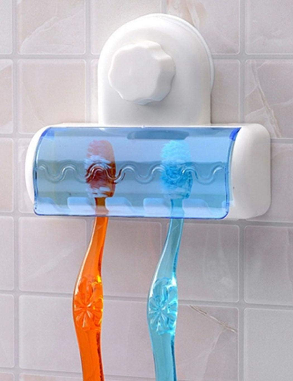 Angoo Bath Toothbrush Holder Stand Dustproof Vacuum Suction Wall Support Organizer (White)