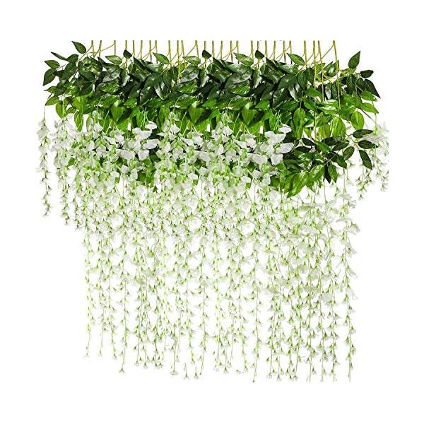 HMDGS 12Pack 3.75 Feet/Piece Artificial Fake Wisteria Vine Ratta Hanging Garland Silk Flowers String Home Party Wedding Decor
