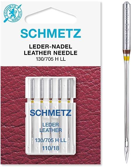 Agujas para Máquinas de Coser Schmetz 130/705 LL cuero ST, 110 ...