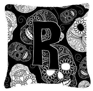Caroline's Treasures CJ2008-RPW1414 Letter R Day of the Dead Skulls Black Decorative Pillow, Large, Multicolor