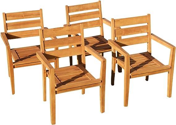 4stk Real teca diseño jardín Sillón Silla de jardín apilable Sillón Muebles de Jardín Madera apilable muy resistente Modelo: jav de Kingston de as de S: Amazon.es: Jardín