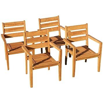 Gartenstühle holz stapelbar  Amazon.de: ASS 4Stk Echt Teak Design Gartensessel Gartenstuhl Sessel ...
