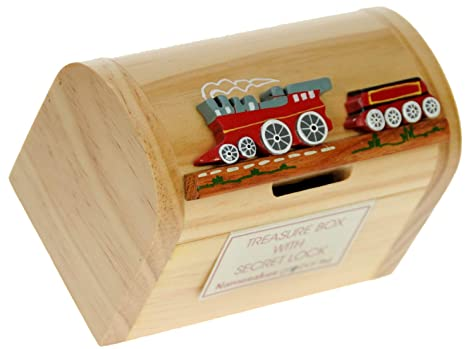 Namesakes Piggy Banks For Kids Red Train Money Box With Secret Lock Traditional Wooden Toys For Children Size 12 X 9 X 7cm