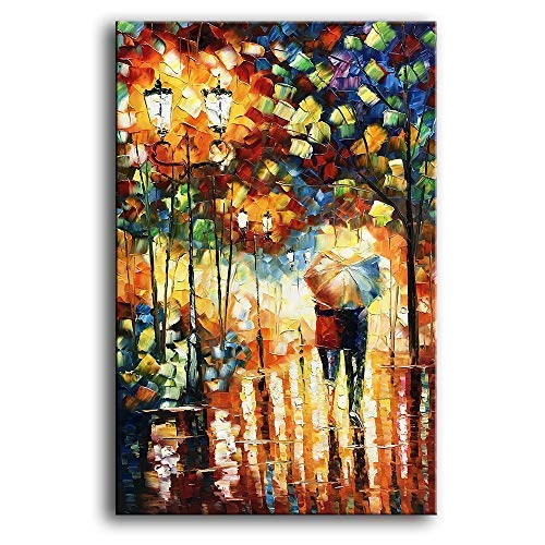 - YaSheng Art 24x36inch Landscape Oil Painting on Canvas Lover Rain Street Tree Lamp Palette knife Abstract Landscape Art Paintings Canvas Wall Art Modern Home living room Office Decor Abstract painting