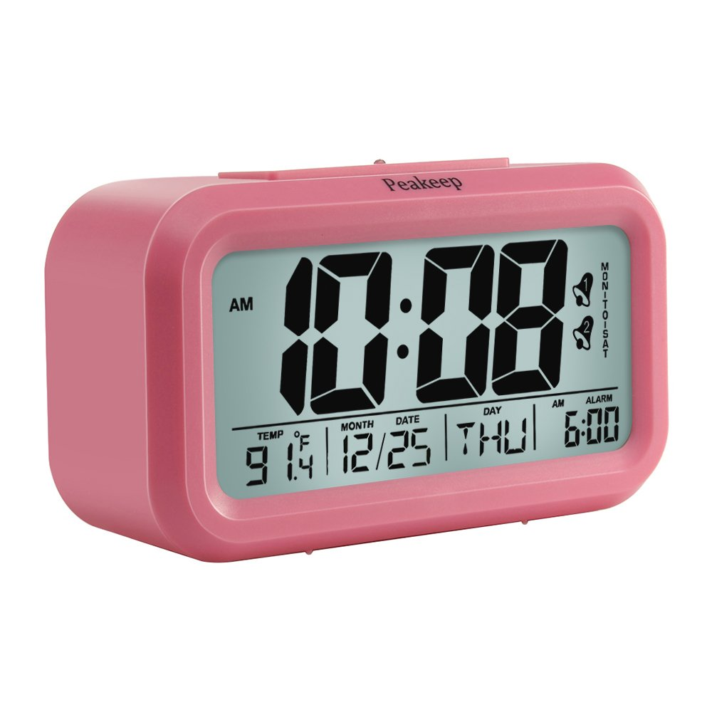 Peakeep Digital Alarm Clock with 2 Alarms for Weekdays, Manual Snooze and Light, Battery Operated Only (Pink)