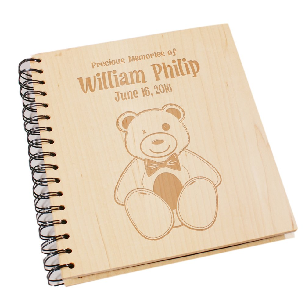 New Baby Keepsake Photo Album, Wood Photo Album, 7 2/3'' x 8 3/4''