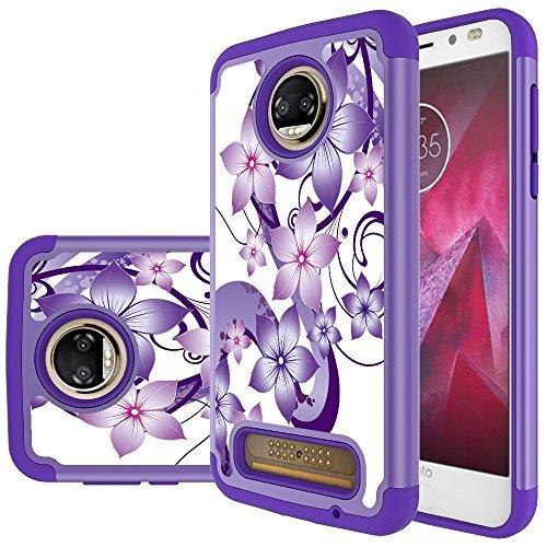 Moto Z2 Force Edition Case,Moto Z2 Force Case,Yiakeng Dual Layer Armor Hard Slim Hybrid Phone Cover Case for Motorola Moto Z2 Force Droid/Moto Z Force (2nd Generation) (Purple Flower)