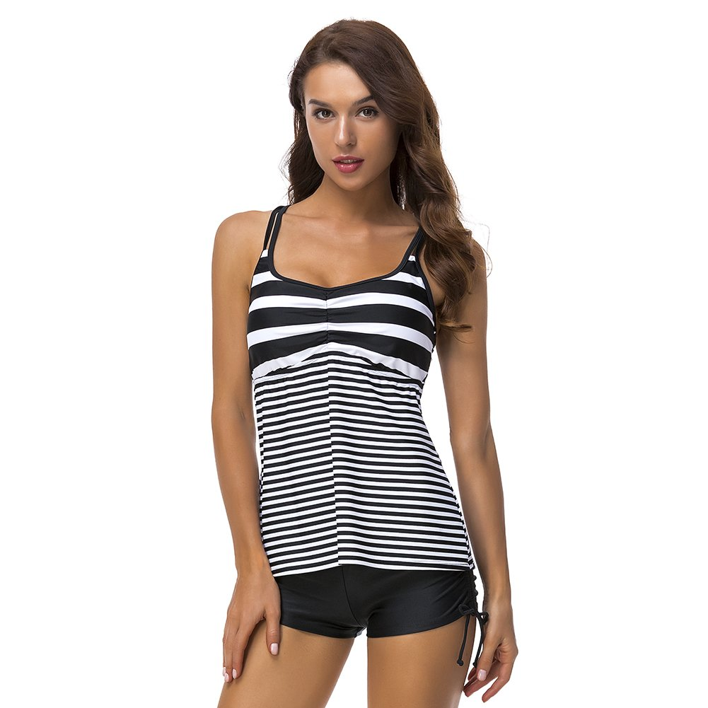 DUSISHIDAN Women Black & White Stripe Swim Top Tummy Control, XL by DUSISHIDAN (Image #1)