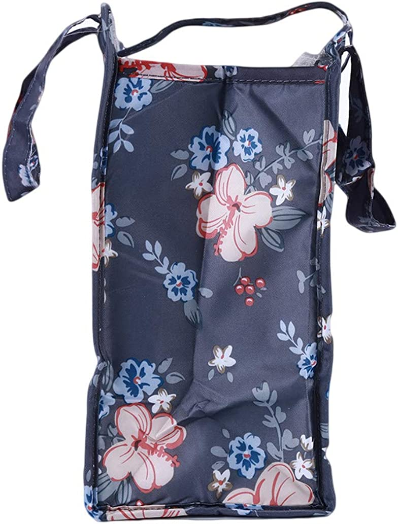 KISSFRIDAY Gray Flower Pattern Oxford Cloth Shoulder Bag Backpack Travel Portable Storage Pouch