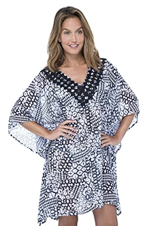 718179bf32902 Profile by Gottex Women's Embroidered V-Neck Tunic Swimsuit Cover Up,  Tribal Batik Black/White, O/S at Amazon Women's Clothing store: