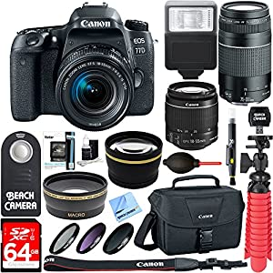 Canon EOS 77D DSLR Camera + EF-S 18-55mm IS STM & 75-300mm III Lens Kit + Accessory Bundle 64GB SDXC Memory + SLR Photo Bag + Wide Angle Lens + 2x Telephoto Lens + Flash + Remote + Tripod & More