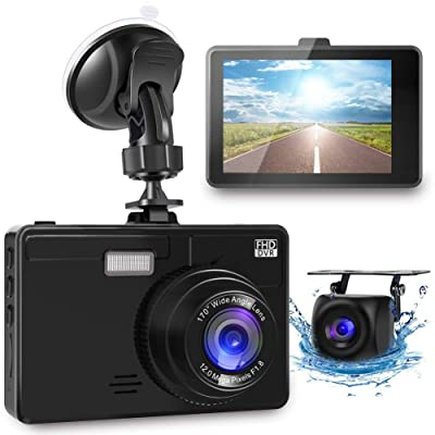 OIIEE Dual Dash Cam 1080P FHD Front and Rear Car Camera, Driving Recorder with Night Vision, 170 Wide Angle 6G Lens, Loop Recording, Parking Monitor, G-Sensor, WDR, Motion Detection: Car Electronics