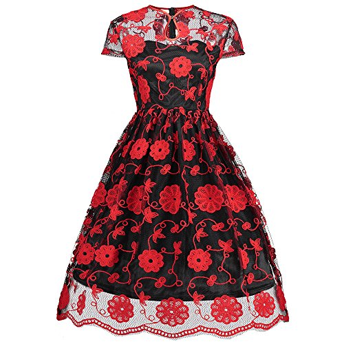 Red Embroidered Mesh (CHARMMA Women's Vintage Cap Sleeve Floral Embroidered Mesh Cheongsam Dress (Red With Black, S))