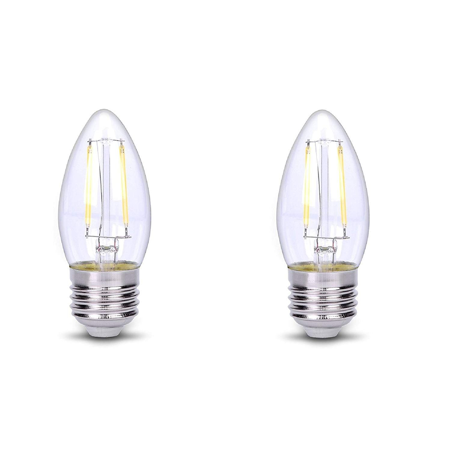 C35 LED Light Bulb E26 Base Candle Wire Filament DC 12V Low Voltage Home Fixtures Socket for Chandelier Candelabra Lamp Tear Drop Landscaping String Lighting Replacement - Cool White, 2W (Pack of 2)