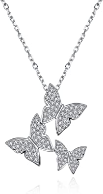 collier argent papillon zirconium