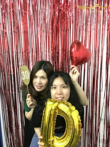 Metallic Foil Fringe-Backdrops-Red-12FTX8FT Tinsel Party/Window/Door Decorative Fringe Curtains(Pack of ()