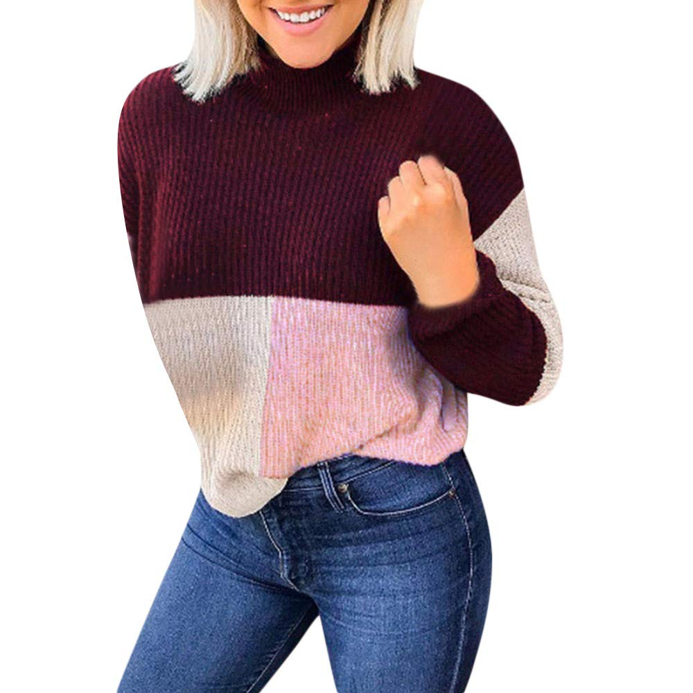 Fashion Sweaters in Londony ♥‿♥ Womens Casual Turtleneck Colorblock Long Sleeve Loose Pullover Sweatshirt Tops Londony007