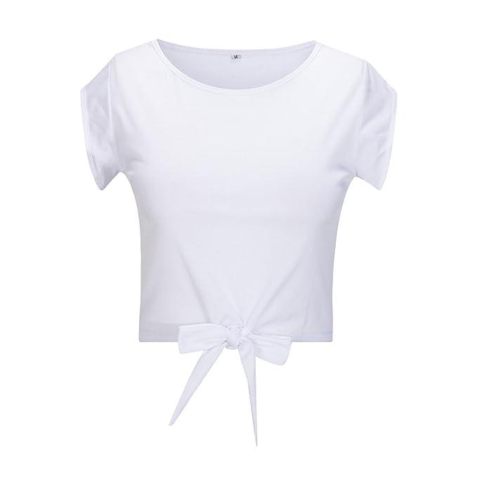 Beauty7 ES 36 Camisas Corta Mujeres Cuello Redondo Mangas Corta Vestido Verano Blusas T-Shirt