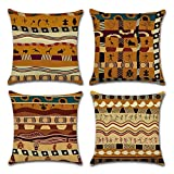 YANGYULU African Pattern Cotton Linen Home Decorative Throw Pillow Case Sofa Cushion Cover 18'' x 18'' (Set of 4)