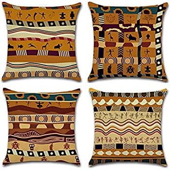 YANGYULU African Pattern Cotton Linen Home Decorative Throw Pillow Case Sofa Cushion Cover 18