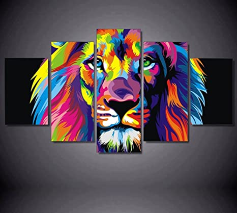 5pcs Framed Abstract Colorful Lion Canvas Prints 5 Piece