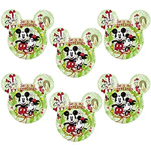 Zak! (6 Pack) Mickey & Minnie Mouse Ears Kids Christmas BPA-Free Plastic Disney Plates Set, Reusable Tableware