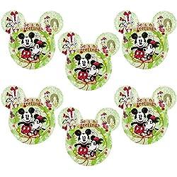 Zak! (6 Pack) Mickey & Minnie Mouse Ears Kids Christmas BPA-Free Plastic Disney Plates Set, Reusable Tableware