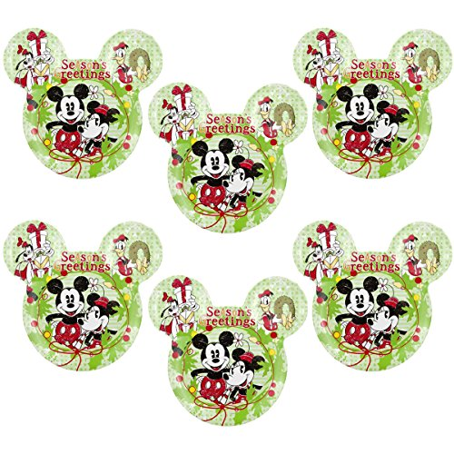 Ear Dish - Zak! (6 Pack) Mickey & Minnie Mouse Ears Kids Christmas BPA-Free Plastic Disney Plates Set, Reusable Tableware