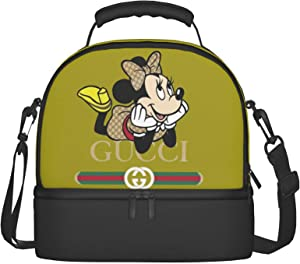 Minnie Mouse Women Tote Bag Cooler Bag With 2 Container Leakproof Food Cake Snack Work Office School Meal Prep Tote Double Layer Organizer Tote Handbag Insulated Heat Lunch Bag