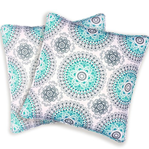 "DriftAway Bella Medallion/Floral Pattern Decoration Cotton Euro Shams, Set Of 2, Quilted Throw Pillow Sham Cushion Cover for bed,sofa or Bench,26""x26"" (Aqua/Gray)"