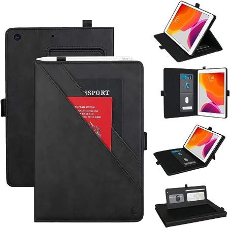 Estuche para iPad 7th Gen 10.2, Estuche de Billetera de Cuero PU con Ranuras para Tarjetas/Porta Bolígrafos Estuche de Soporte de Visualización de Múltiples ángulos para 2019 iPad 7 10.2