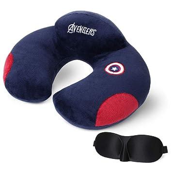 URAQT Almohadas de Cuello de Viaje,Almohada de Espuma con Forma de U, Soporte para el Cuello y la Cabeza para en Case y Outdoor, Azul Oscuro