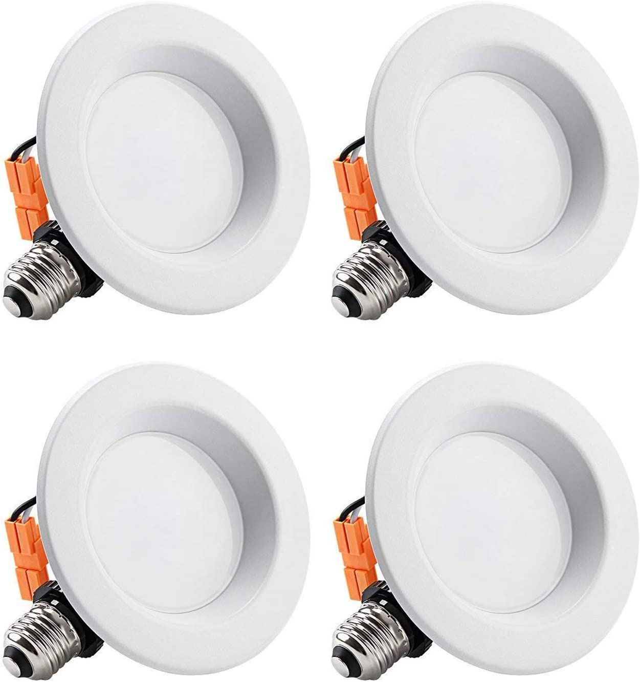 torchstar 4 inch dimmable led recessed lighting with smooth trim retrofit recessed downlight 10w 65w equiv cri 90 wet location etl listed